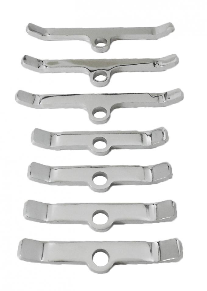 RPC Racing Power Company R9640, Valve Cover Hold Down Tab Set, For Use With Big Block Chevy, Chrome Plated, Steel, Set Of Three 4 Inch Bars/ Four 3 Inch Bars