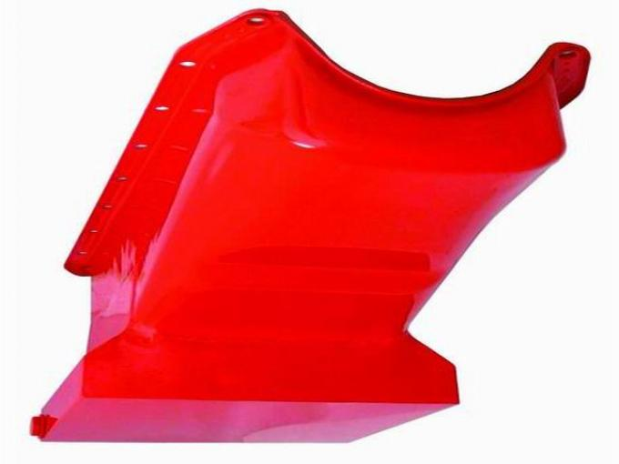 RPC Racing Power Company R9726, Oil Pan, For Use With Small Block Chevy 283-350, 2 Piece Rear Main, Drag Race, 7 Quarts, With Windage Tray, Drivers Side Dipstick, Orange, Steel, With 1 Trap Door/ Crank Scraper/ Reinforced Rails/ Drain Plug/ Bolts