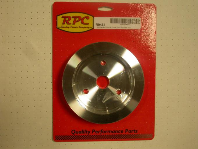 RPC Racing Power Company R9481, Crankshaft Pulley, For Use With 1955-1968 Small Block Chevy 283-400 Engines, Dual Groove, 6.60 Inch Diameter, Short Water Pump, Satin, Aluminum
