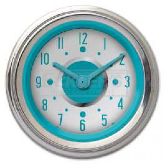 Chevy Classic Instruments Custom Dash Clock, White Face With Turquoise Needle, 1955-1956