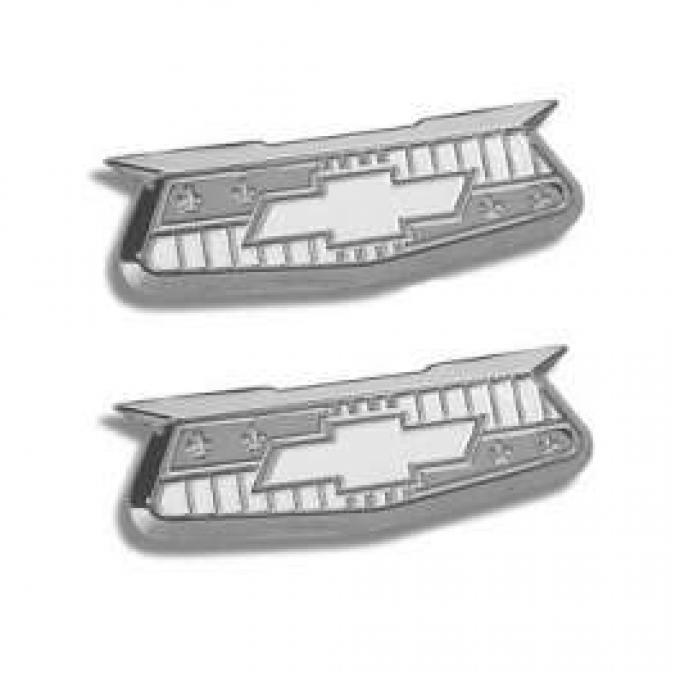 Chevy Quarter Panel Crests, Chrome, 1955-1957