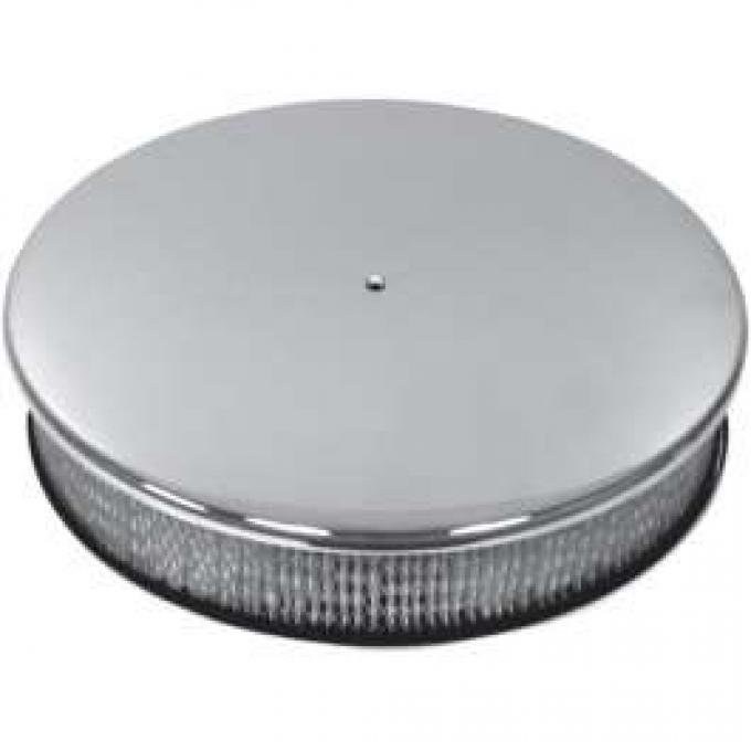 Chevy Air Cleaner, Round Smooth Chrome Aluminum, 14 X 3