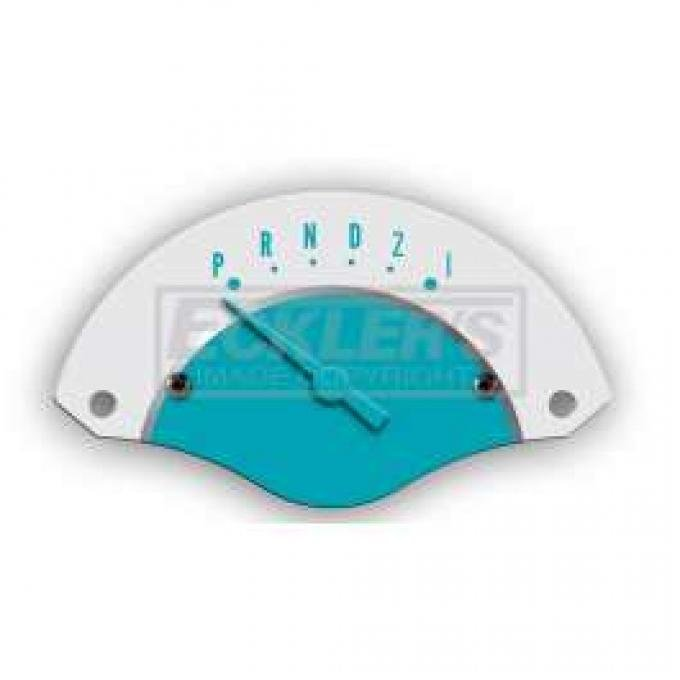 Chevy Classic Instruments Shifter Indicator, For 3-Speed Automatic Transmission, White Face With Turquoise Needle, 1955-1956