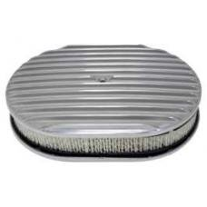 Chevy Air Cleaner, Oval Full Finned Polished Aluminum, 12