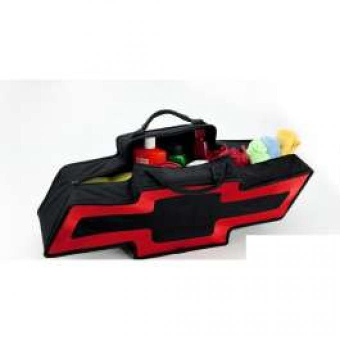 Chevy Canvas Bag, Chevrolet Bowtie, Black With Red Border