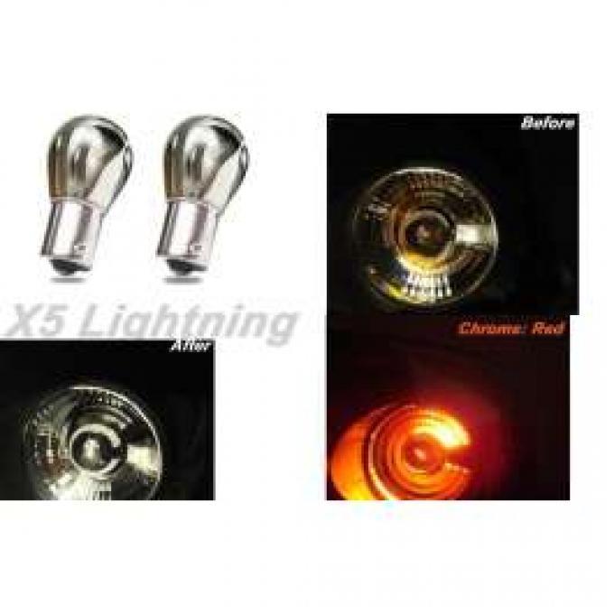 Light Bulbs, 1157, Chrome X5 Lightning Red Silver Stealth