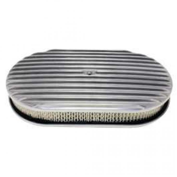 Chevy Air Cleaner, Oval Full Finned Polished Aluminum, 15
