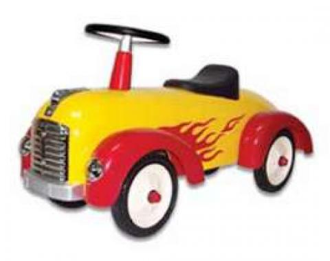 Ride-On Car, Speedster, Yellow, With Red Flames