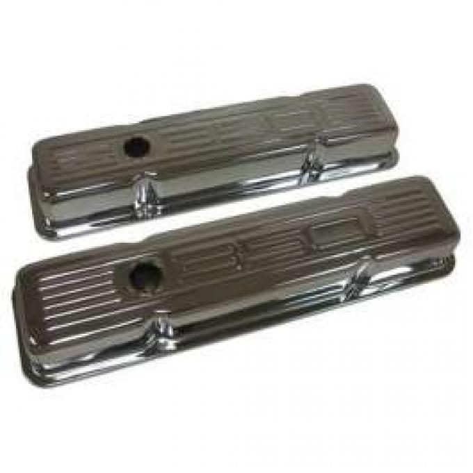 Chevy Small Block Chrome Valve Covers With 350 Logo, Short, 1958-1986