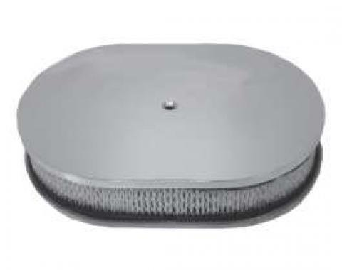 Chevy Air Cleaner, Oval Smooth Polished Aluminum, 12