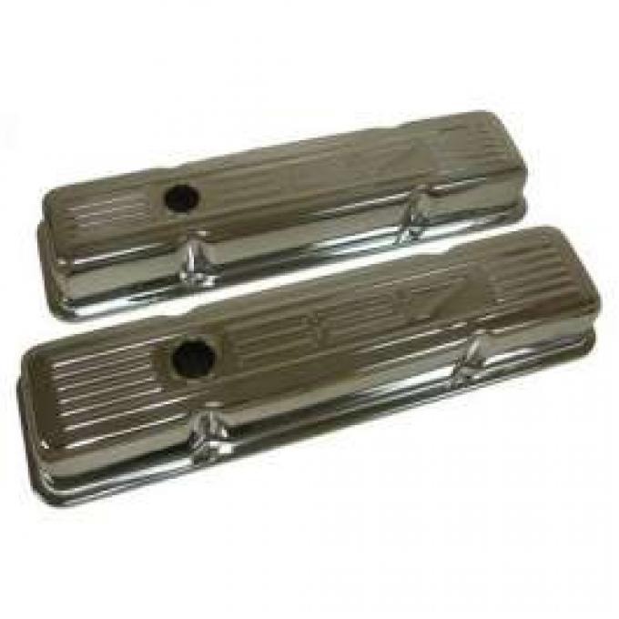 Chevy Small Block Chrome Valve Covers With 327 Logo, Short, 1958-1986
