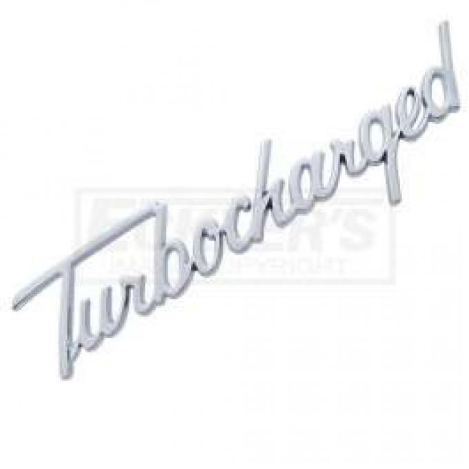 Chevy Turbocharged Script Emblem, Chrome, 1955-1957
