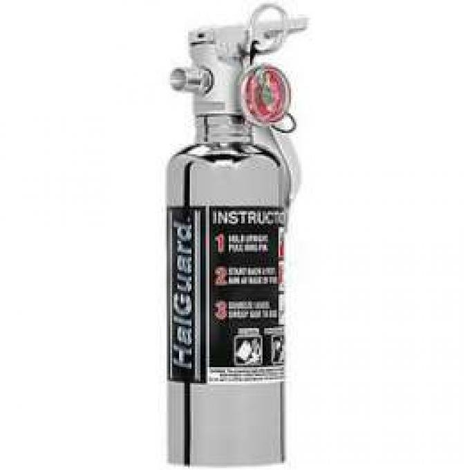 Fire Extinguisher, H3R Halguard Chrome, 1.4 Lb.