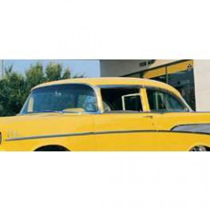 Chevy Door Glass For Vent Window Delete, Clear, 2-Door Sedan Or Wagon, Delivery, 1955-1957