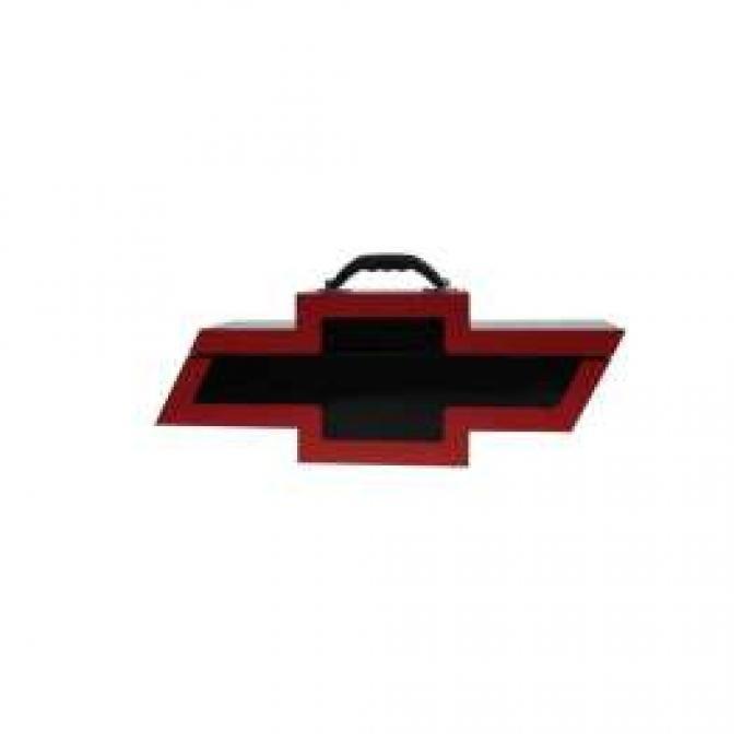 Chevy Bowtie Shaped Portable Tool Box, Black & Red
