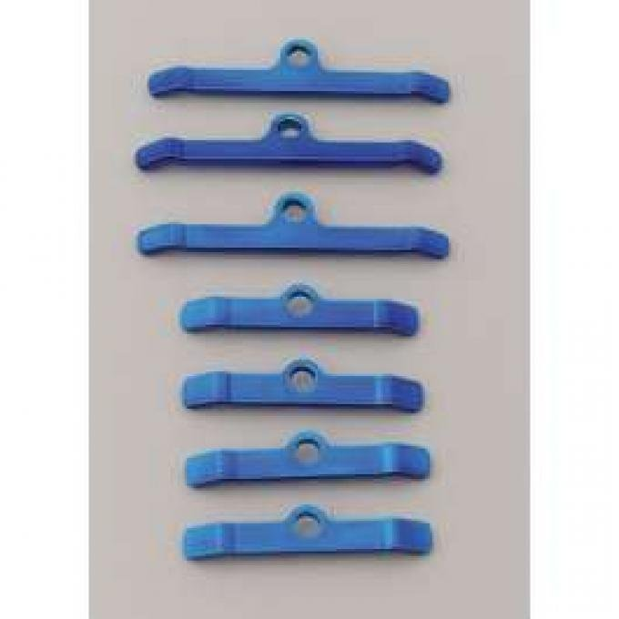 Chevy Moroso Valve Cover Hold Down Tabs, Steel, Powder Coated Blue, Big Block, 1955-1957