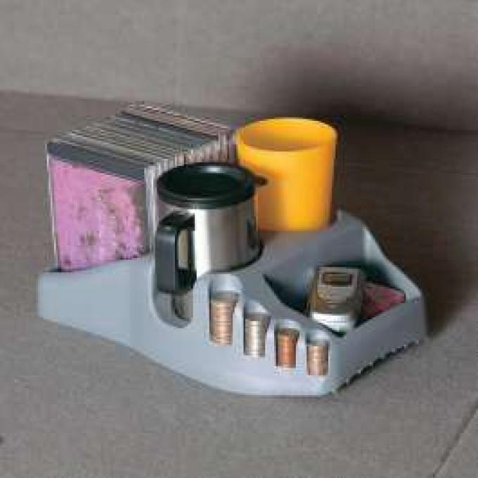 Universal Efficiency Console/Organizer With Drink, Coin, And CD Holders, Charcoal