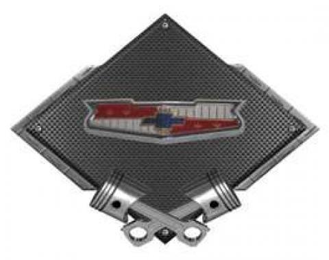 Chevy Tri-5 Emblem Metal Sign, Black Carbon Fiber, Crossed Pistons, 25 X 19