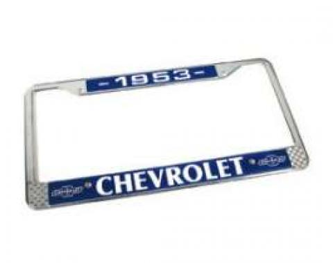 Chevy License Plate Frame, With Chevy Logo, 1953