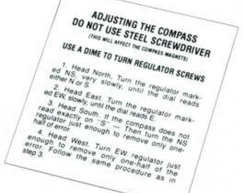 Chevy Glove Box Compass Instructions Decal, 1949-1954