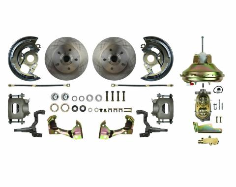 "Right Stuff Power Front Stock Height Disc Brake Conversion Kit with an 11"" Brake Booster & Master Cylinder, Standard Rotors and Natural Finish Calipers for 67-72 GM A-Body. AFXDC06C"