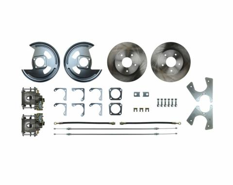 Right Stuff Rear Disc Brake Conversion Kit with Standard Rotors, Natural Finish Calipers, Hoses, E-Brake Cables & more for 64-77 GM A-body, 67 F-Body and 68-79 Nova with Non-Staggered Shocks. AFXRD01