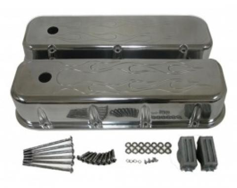 Chevy Big Block Valve Covers, Flamed Polished Aluminum, 1965-1995