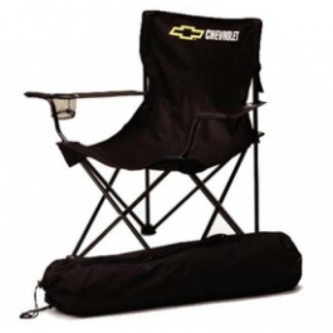 Chevrolet Bowtie Folding Arm Chair, Black & Gold