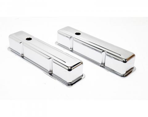 Chevy Small Block Valve Covers, Tall Style, Chrome, 1958-1986