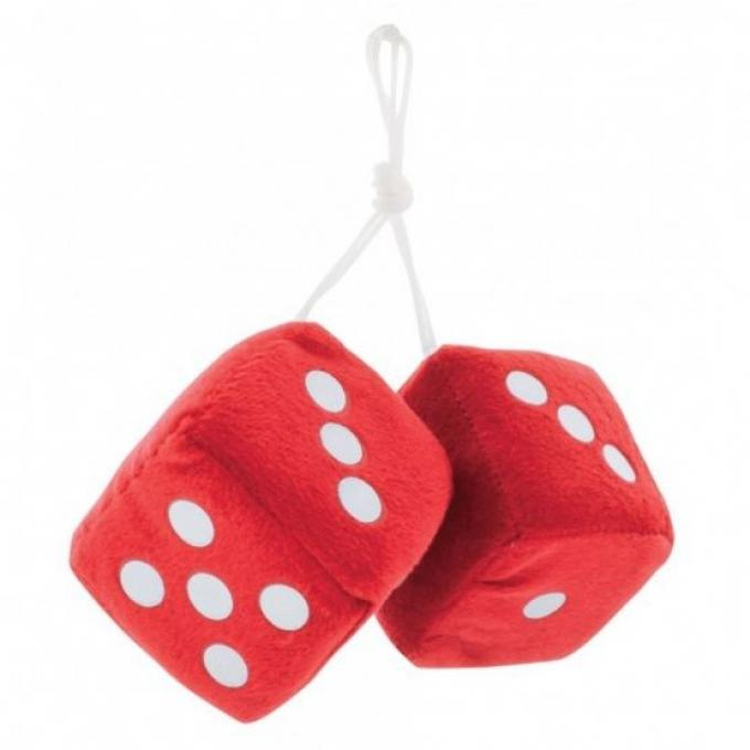 """United Pacific 3"""" X 3"""" Classic Fuzzy Dice, Red (Pair) C5038R"""