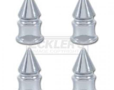 Full Size Chevy Valve Stem Caps, Chrome Spike, 1958-1984