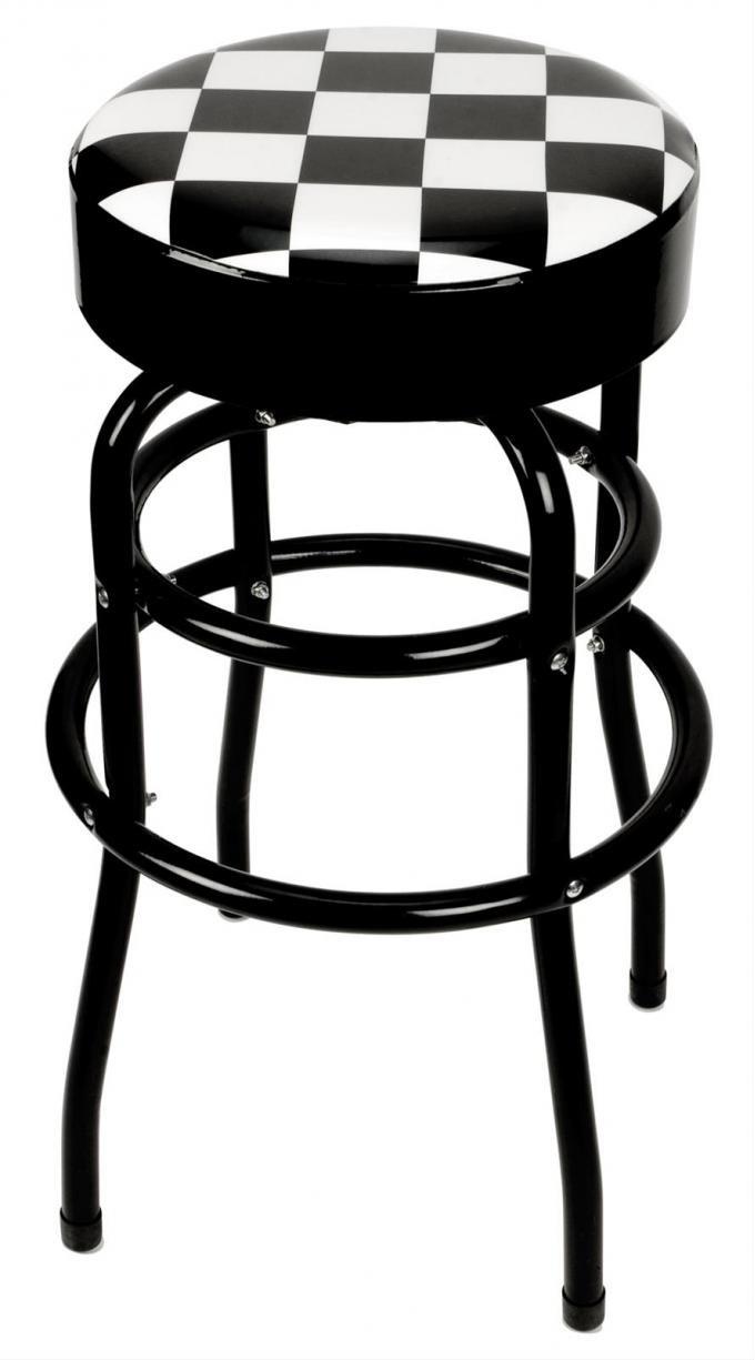 Checker Flag Swivel Bar Stool with Black Steel Legs