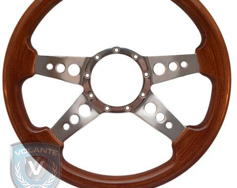 Volante S9 Premium Steering Wheel, Walnut Wood and Brushed Center, 4 Spoke with Holes