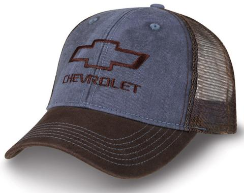 Washed Twill And Mesh Bowtie Trucker Cap