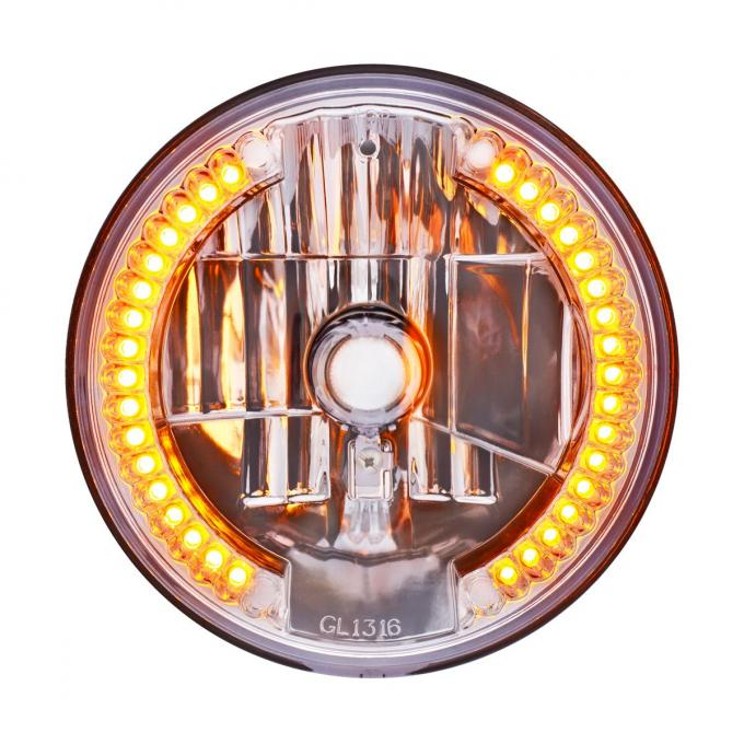 """United Pacific 7"""" Crystal Headlight w/ 34 Amber LED Position Light 31378"""
