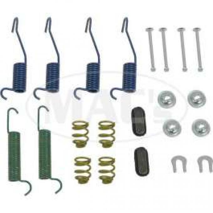 Drum Brake Hardware Combi-Kit, Rear, 9 Brakes, Comet, Falcon, Ranchero, 1963-1970