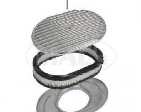 Ford Air Cleaner, Oval Full Finned Polished Aluminum, 12