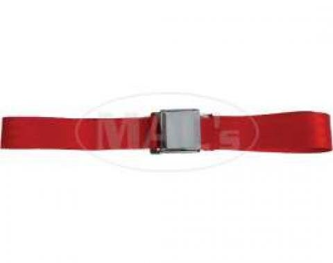"""Seatbelt Solutions Chevrolet 1955-1957, Rear Universal Lap Belt, 60"""" with Chrome Lift Latch 1800602006   Flame Red"""