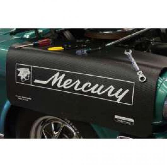 Fender Gripper® Cover, White Mercury Logo On A Black Background