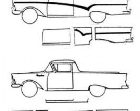 Rear Wheel Well Arch Repair Panel, Left, Fairlane, Ranchero, 1957