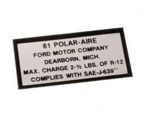 Air Conditioning Charge Decal - 61 Polar-Aire