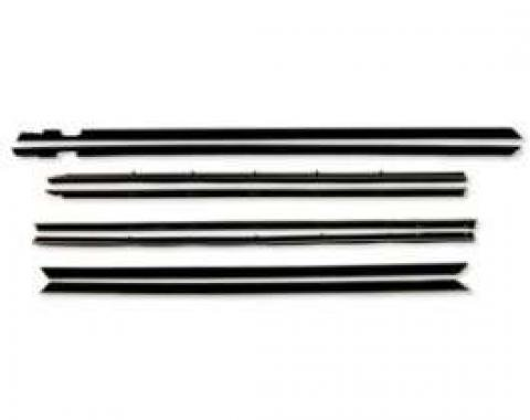 Belt Weatherstrip Kit - Round Stainless Steel Bead On Both Outer and Inner - 4 Pieces