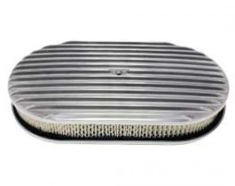 Ford Air Cleaner, Oval Full Finned Polished Aluminum, 15