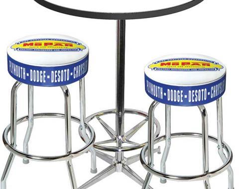 OER 1948-53 Mopar Logo Pub Table & Stool Set - Table W/Chrome Footrest & 2 Chrome Stools - Style 1 *MD67701
