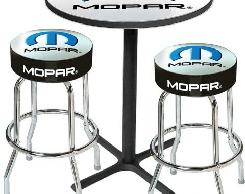 OER 2001-13 Mopar Logo Pub Table & Stool Set - Black Base Table With 2 Chrome Stools (3-Pc), Style 8 *MD67508