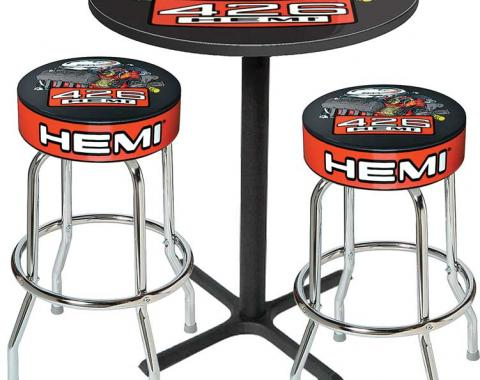 OER Table & Stool Set - Mopar 426 Hemi Logo - Black Based Table With Chrome Stools (3-Pc), Style 13 *MD67513