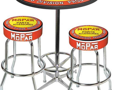 OER Mopar Orange/Yellow Logo Table & Stool Set - Table W/Chrome Foot Rest & 2 Chrome Stools, Style 6 *MD67706