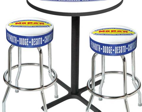 OER Mopar Logo Pub Table and Stool Set - Black Base Table with 2 Chrome Stools, Style 1 *MD67501
