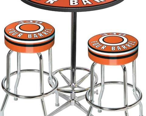OER Table & Stool Set - Mopar 340 4-Barrel - Chrome Base Table W/ Foot Rest & 2 Chrome Stools, Style 10 *MD67710