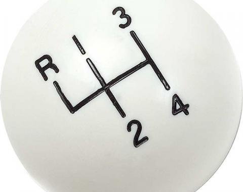 "OER White 4 Speed Shift Knob with 5/16""-18 SAE Thread 3921147W"